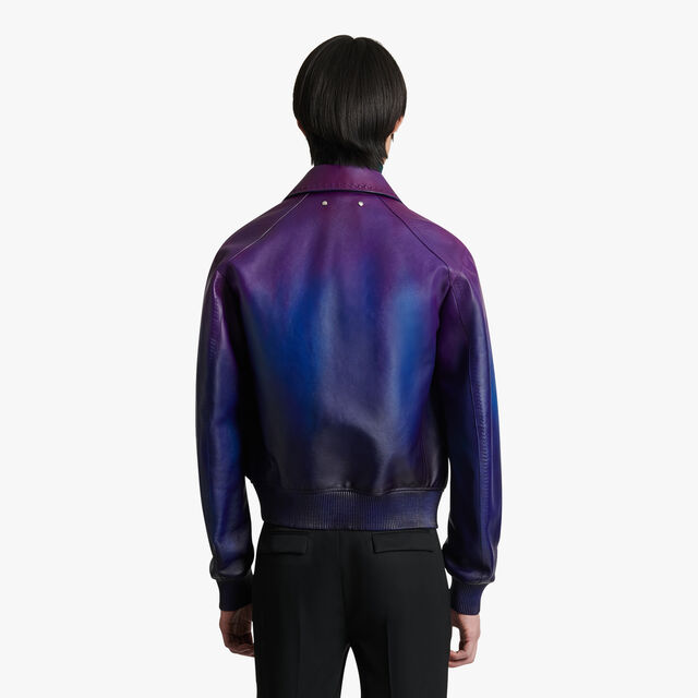 多色转色皮革外套, DARK INDIGO, hi-res