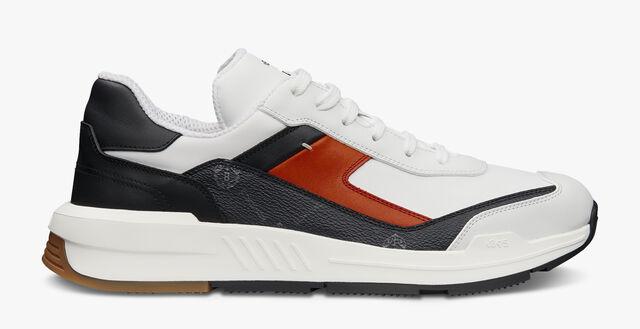 Pulse帆布与皮革运动鞋, BLACK + WHITE + ORANGE, hi-res