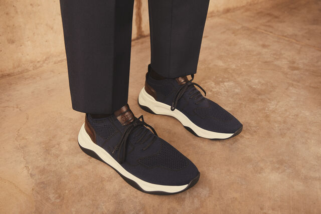 带有皮革细节的Shadow针织款运动鞋, NAVY, hi-res