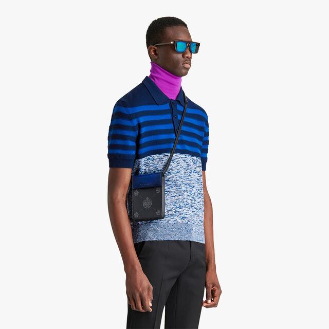 Traveler 帆布镶皮革手机包, BLACK + UTOPIA BLUE, hi-res