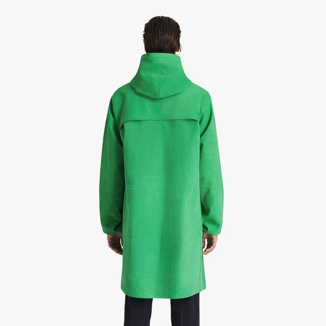 科技皮革派克大衣, CLOVER GREEN, hi-res