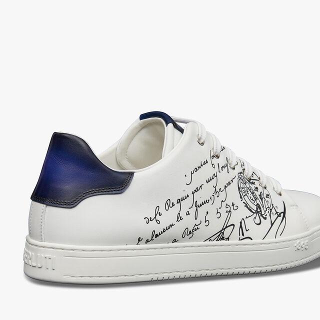 Playtime Scritto图纹皮革运动鞋, WHITE, hi-res