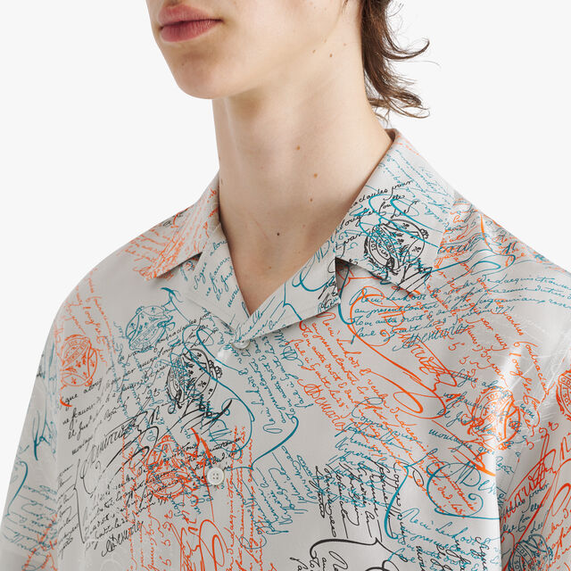 特大印花真丝衬衫, SCRITTO ICE GREY, hi-res