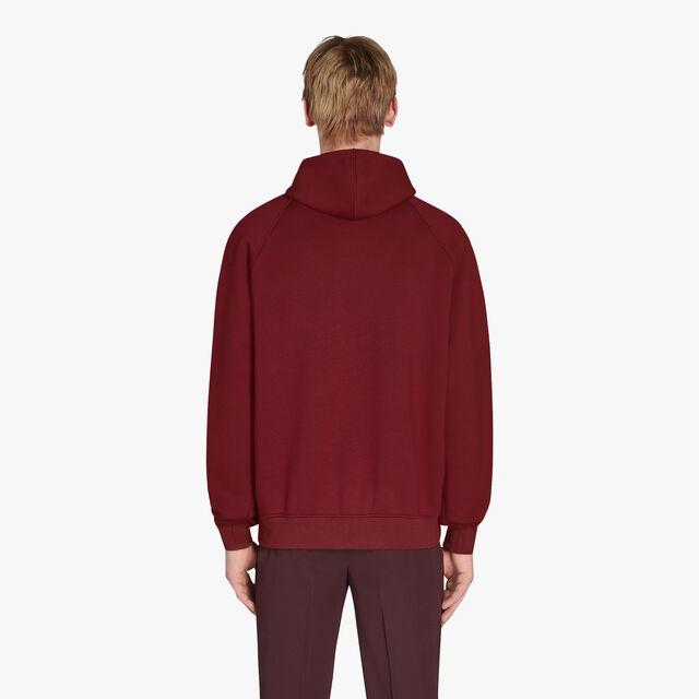 有皮革装饰的连帽汗布运动衫, ST EMILION/VERMILLON, hi-res