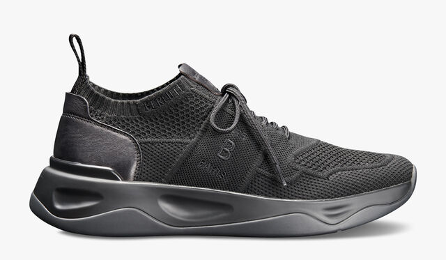 Shadow 针织与皮革运动鞋, JET BLACK, hi-res