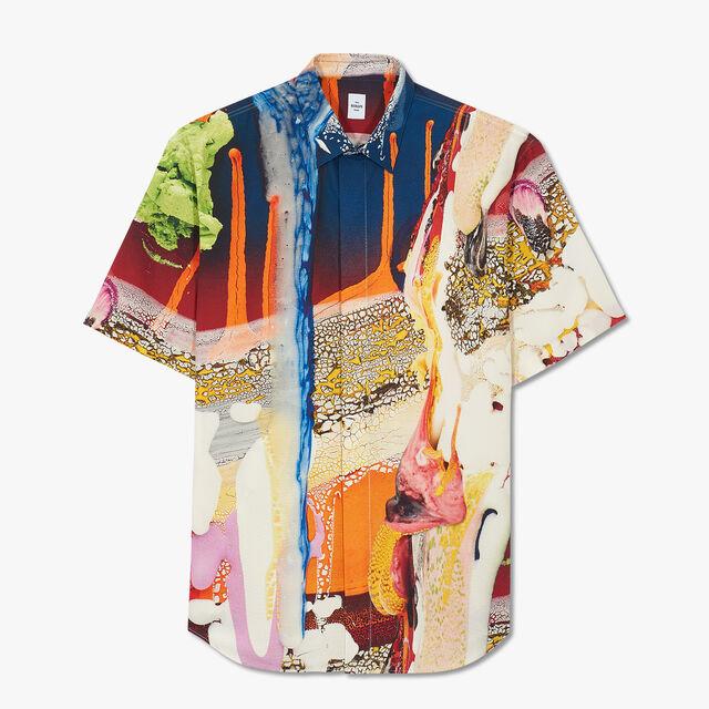 Brian Rochefort Short Sleeve Printed Silk Shirt