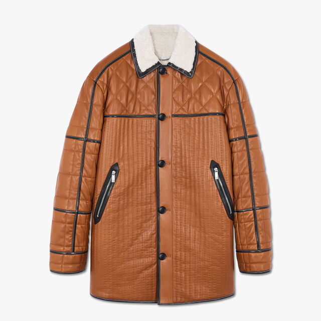绗缝剪羊毛大衣, TAWNY BROWN, hi-res